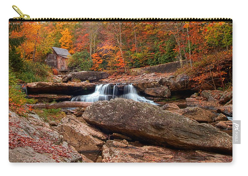 Glade Creek Carry-all Pouch featuring the photograph Autumn Leaves At The Mill by Randall Branham