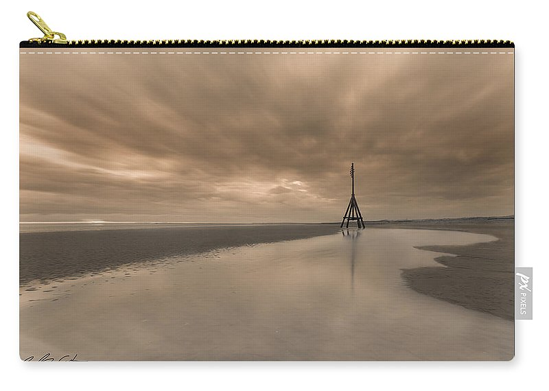 Monochrome Carry-all Pouch featuring the photograph Big Sky - Channel Marker by Beverly Cash