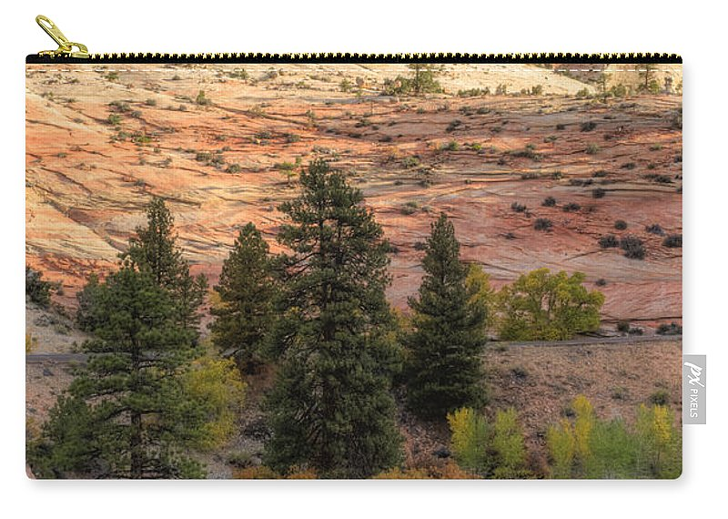 Hdr Carry-all Pouch featuring the photograph East Zion Canyon Hdr by Sandra Bronstein