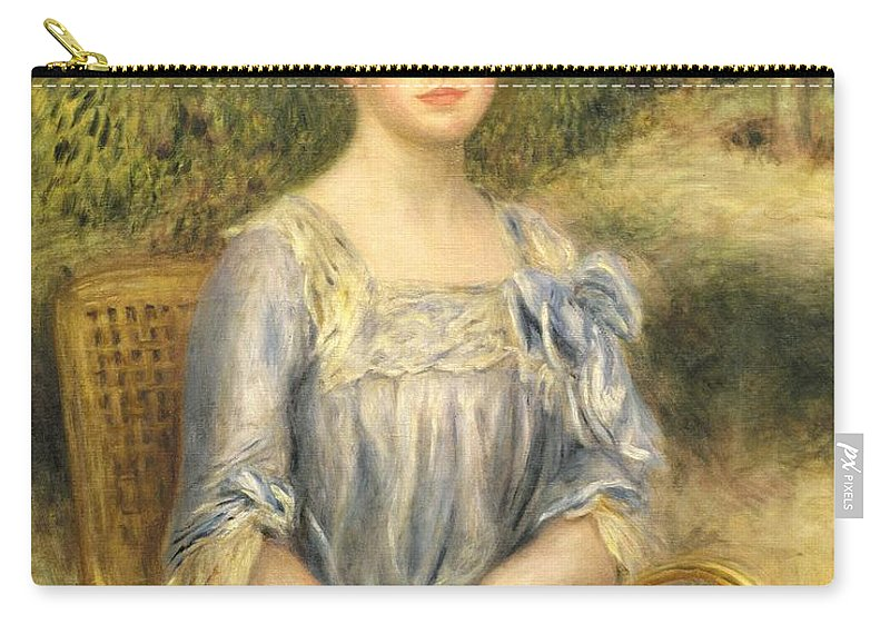 Nee Suzanne Adler; Female; Seated; Bun; Outside; Wicker Chair; Portrait Carry-all Pouch featuring the painting Madame Gaston Bernheim De Villers by Pierre Auguste Renoir