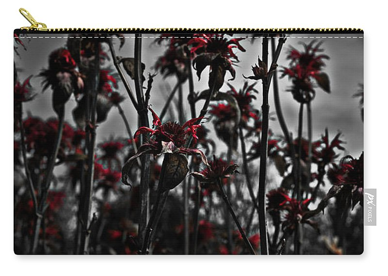 Red Carry-all Pouch featuring the photograph Mono Flowers by Beverly Cash