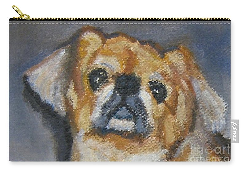 Dog Carry-all Pouch featuring the painting Sad Eyes In Halifax by John Malone