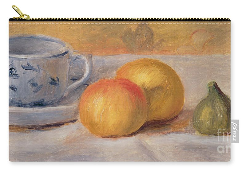 Fruit; Crockery; Patterned; China; Saucer; Tablecloth; Rustic; Figs; Oranges Carry-all Pouch featuring the painting Still Life With Blue Cup Nature Morte A La Tasse Bleue by Pierre Auguste Renoir