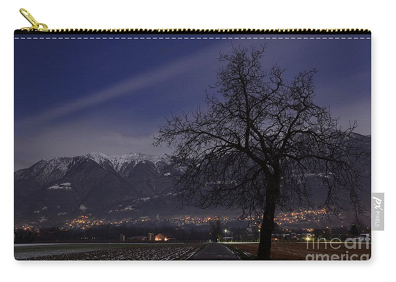 Road Carry-all Pouch featuring the photograph Tree And Snow-capped Mountain by Mats Silvan