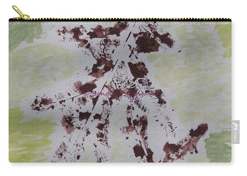 Brown Amidst Green Carry-all Pouch featuring the painting Two Old Leaves by Sonali Gangane