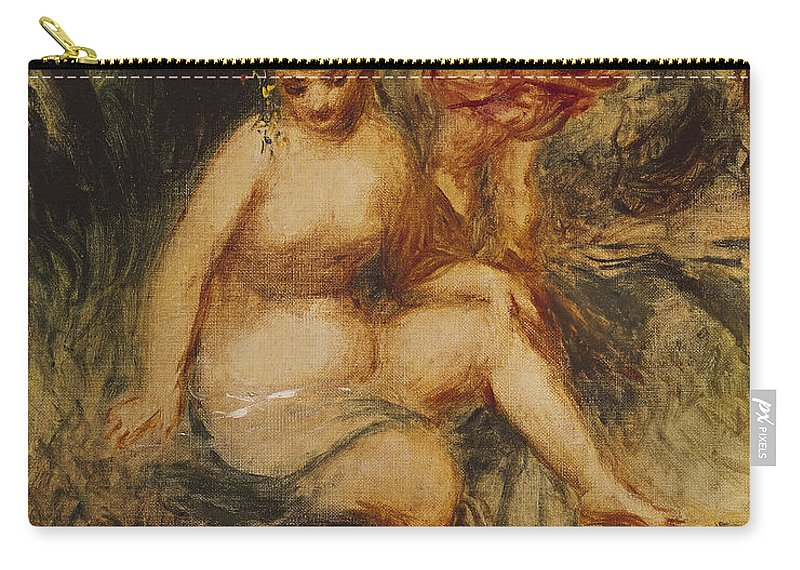 Impressionist; Impressionism; Mythological; Myth; Allegorical; Female; Nude; Roman; Classical; Goddess Carry-all Pouch featuring the painting Venus And Love Allegory by Pierre Auguste Renoir