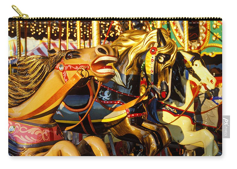 Wild Carrousel Horses Carry-all Pouch featuring the photograph Wild Carrousel Horses by Garry Gay