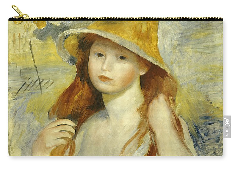 Impressionist; Impressionism; Portrait; Female Carry-all Pouch featuring the painting Young Girl With A Straw Hat by Pierre Auguste Renoir