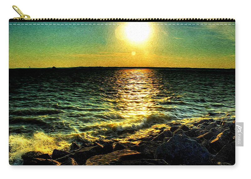 Carry-all Pouch featuring the photograph 0001 Windy Waves Sunset Rays by Michael Frank Jr