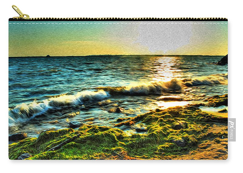 Carry-all Pouch featuring the photograph 00015 Windy Waves Sunset Rays by Michael Frank Jr