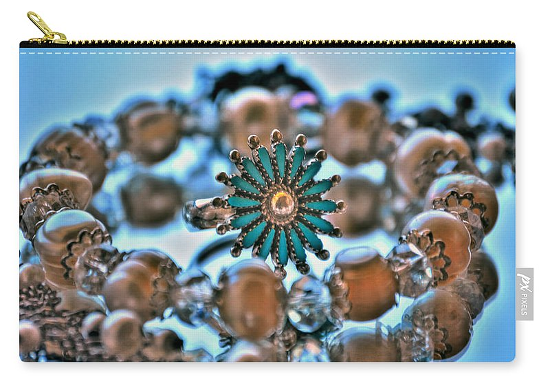 Carry-all Pouch featuring the photograph 0002 Turquoise And Pearls by Michael Frank Jr