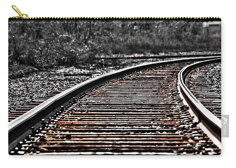 Carry-all Pouch featuring the photograph 0003 Train Tracks by Michael Frank Jr