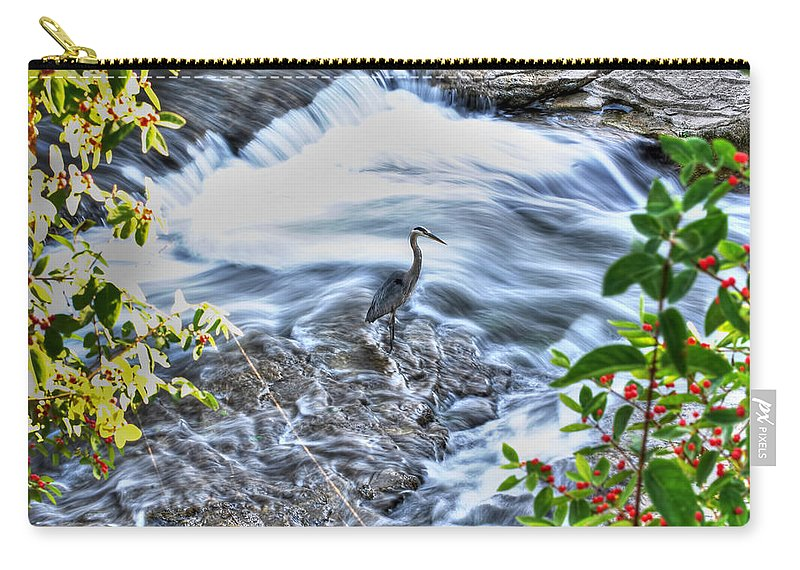 Carry-all Pouch featuring the photograph 0005 Blue Heron At Glen Falls Williamsville Ny by Michael Frank Jr