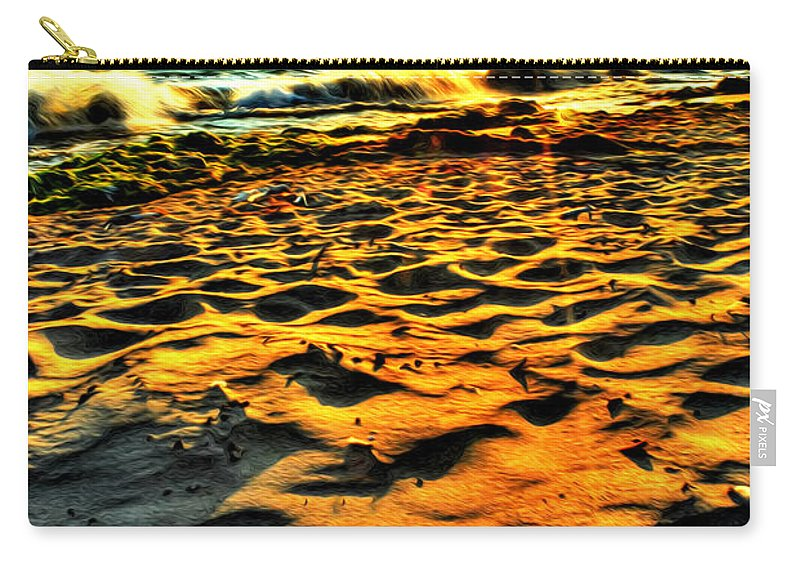 Carry-all Pouch featuring the photograph 0008 Windy Waves Sunset Rays by Michael Frank Jr
