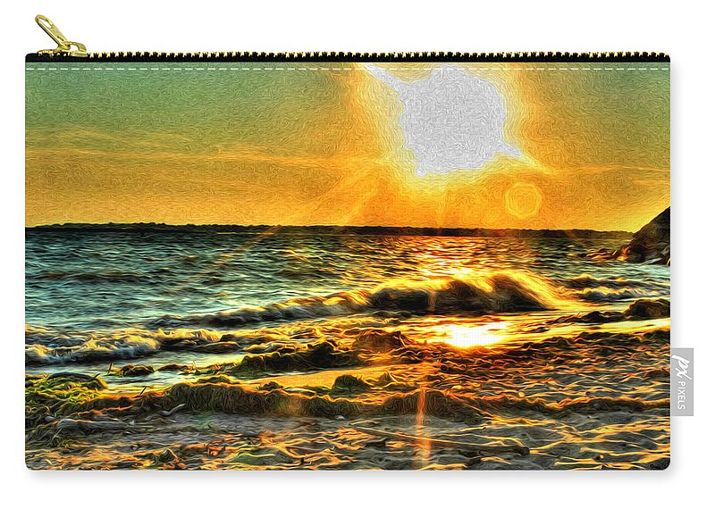 Carry-all Pouch featuring the photograph 0009 Windy Waves Sunset Rays by Michael Frank Jr