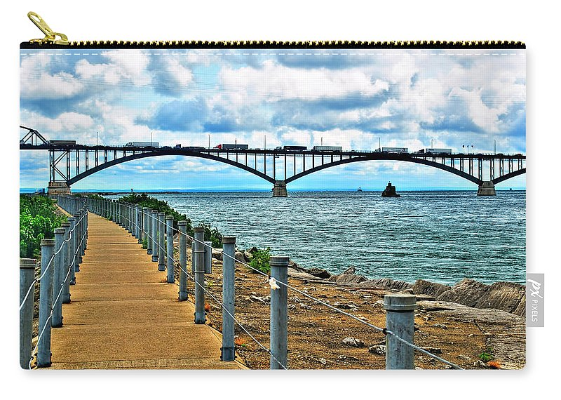 Carry-all Pouch featuring the photograph 004 Stormy Skies Peace Bridge Series by Michael Frank Jr