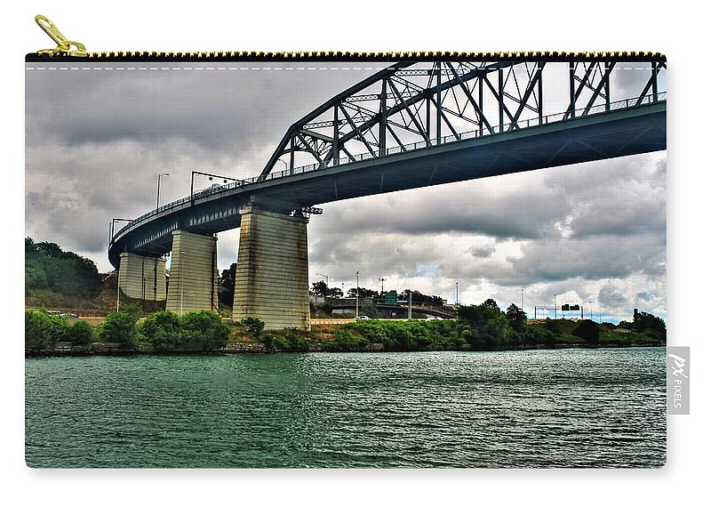 Carry-all Pouch featuring the photograph 006 Stormy Skies Peace Bridge Series by Michael Frank Jr