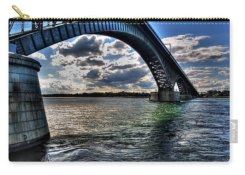 Carry-all Pouch featuring the photograph 013 Peace Bridge Series II Beautiful Skies by Michael Frank Jr