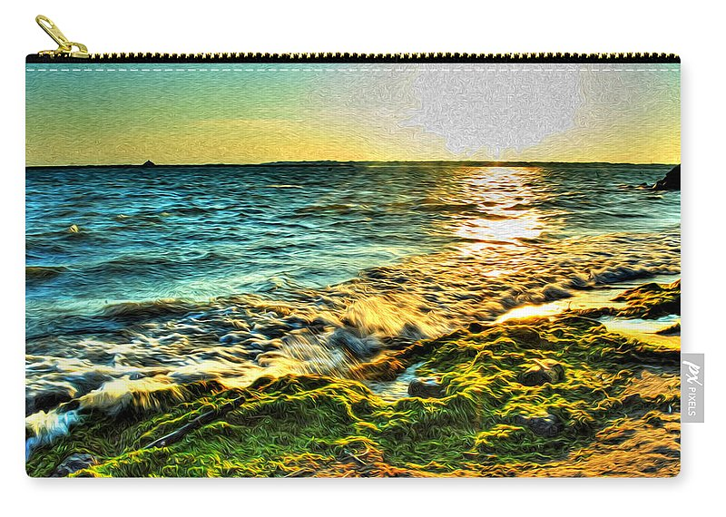 Carry-all Pouch featuring the photograph 00013 Windy Waves Sunset Rays by Michael Frank Jr