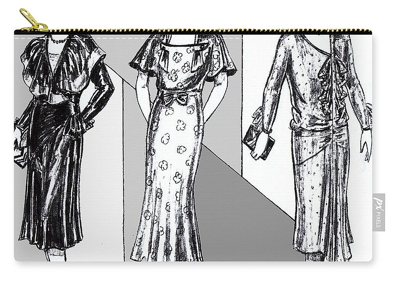 Nostalgia Carry-all Pouch featuring the drawing 1930s Dresses by Mel Thompson