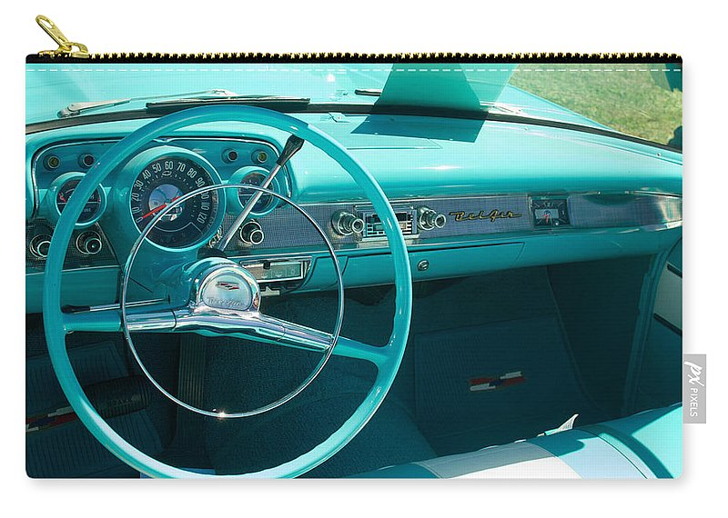 1957 Chevy Convertable Carry-all Pouch featuring the photograph 1957 Chevy Convertable by Mark Dodd