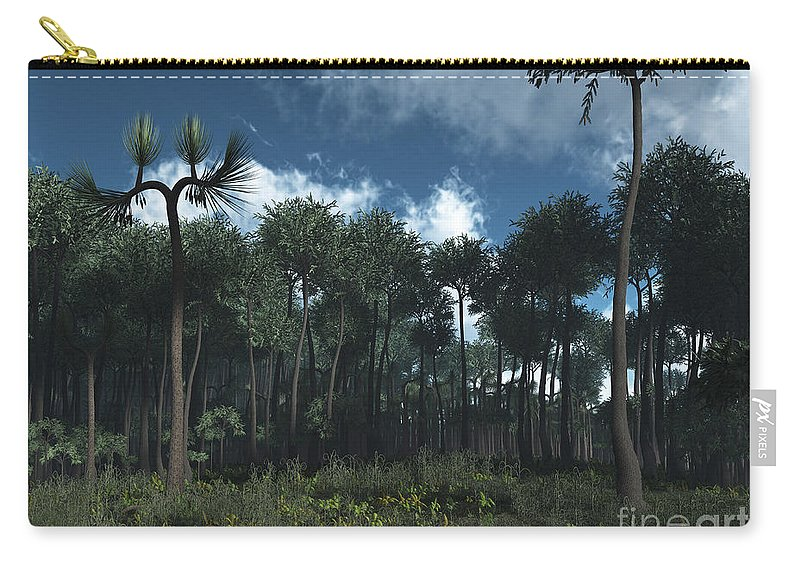 Earth Carry-all Pouch featuring the digital art A Carboniferous Forest Of Midwestern by Walter Myers