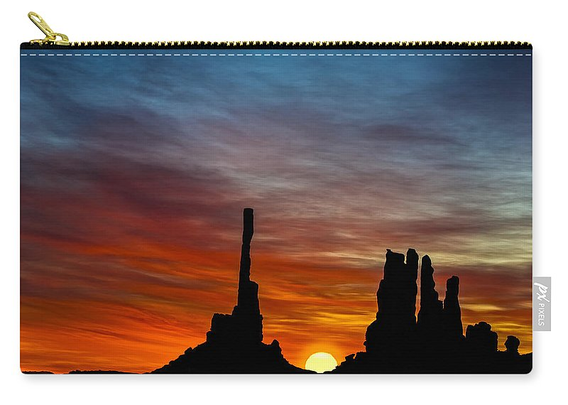 Sunrise Carry-all Pouch featuring the photograph A New Day At The Totem Poles by Susan Candelario