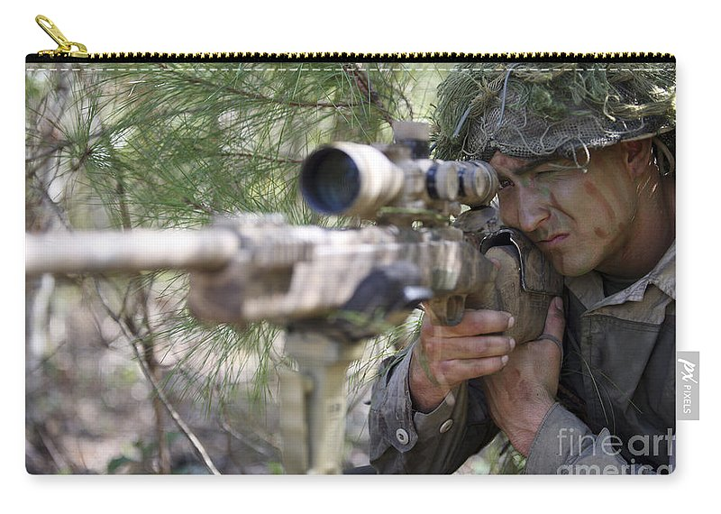 Us Marines Carry-all Pouch featuring the photograph A Sniper Sights In On A Target by Stocktrek Images