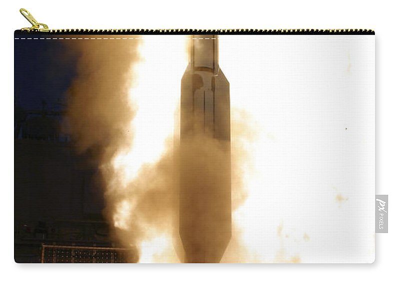 Color Image Carry-all Pouch featuring the photograph A Standard Missile 3 Is Launched by Stocktrek Images