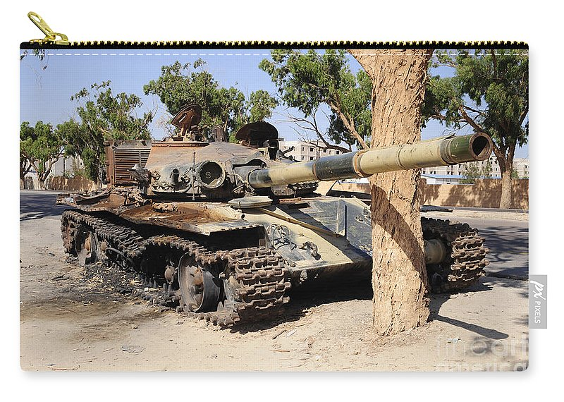 Libya Carry-all Pouch featuring the photograph A T-72 Tank Destroyed By Nato Forces by Andrew Chittock