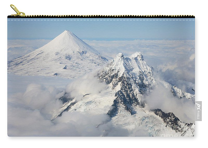 Peak Carry-all Pouch featuring the photograph Aerial View Of Shishaldin Volcano by Richard Roscoe