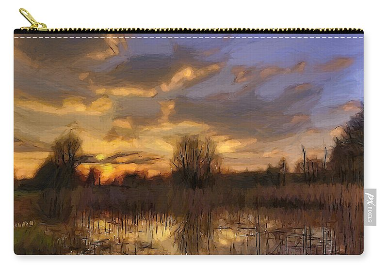 Swamp Bog Sun Sunset Sunrise Rain Cloud Clouds Sky Landscape Nature Reflection Light Oil Painting Expressionism Warm Water Tree Trees Carry-all Pouch featuring the painting After The Rain by Steve K