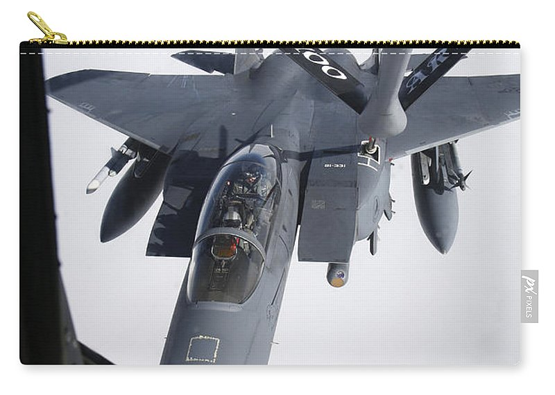 Transportation Carry-all Pouch featuring the photograph Air Refueling A F-15e Strike Eagle by Daniel Karlsson