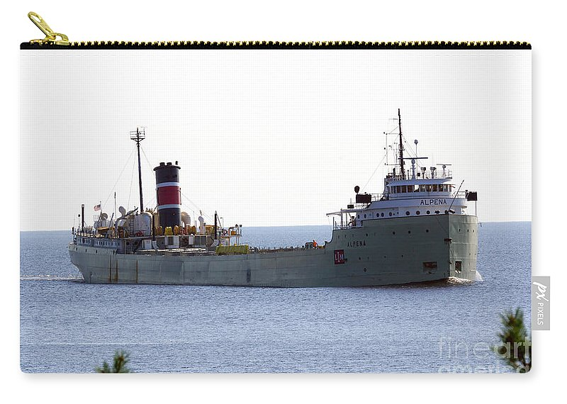 Ship Carry-all Pouch featuring the photograph Alpena Ship by Lori Tordsen
