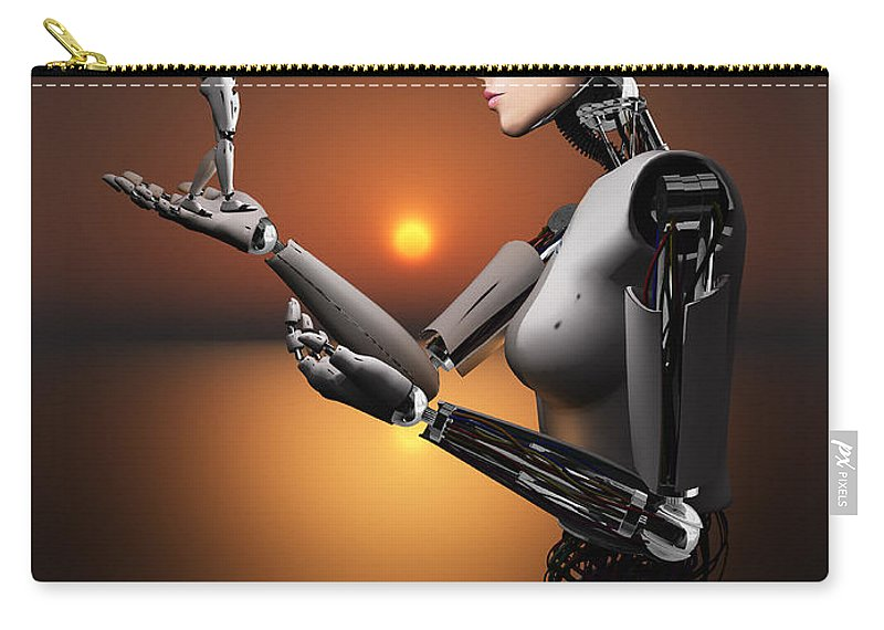 Hands Carry-all Pouch featuring the digital art An Android Takes A Closer Look by Mark Stevenson