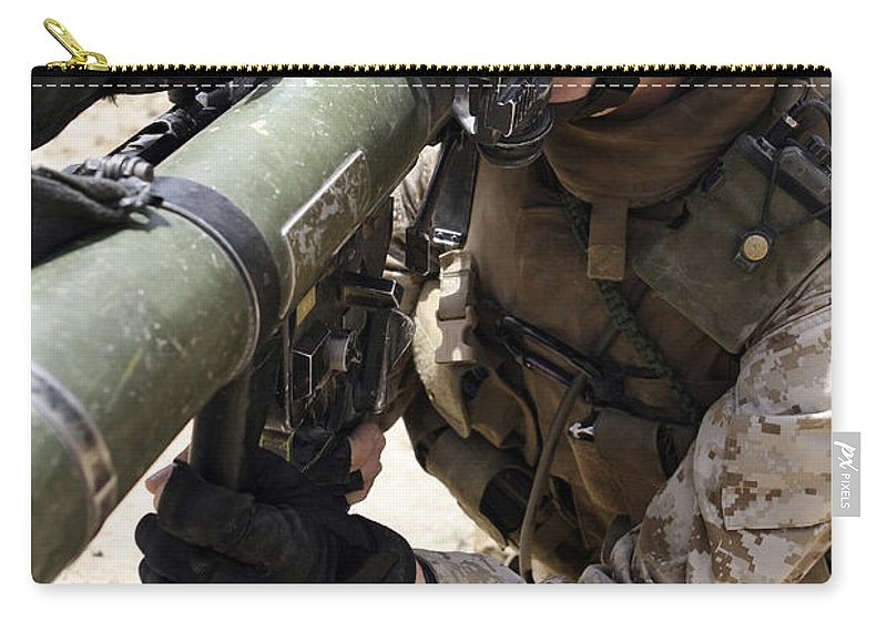 Aiming Carry-all Pouch featuring the photograph An Assaultman Handles by Stocktrek Images