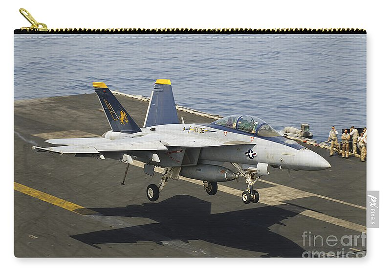Transportation Carry-all Pouch featuring the photograph An Fa-18e Super Hornet Trap Landing by Giovanni Colla