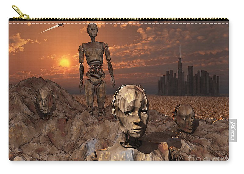 Evolution Carry-all Pouch featuring the digital art Android Fossils Preserved by Mark Stevenson