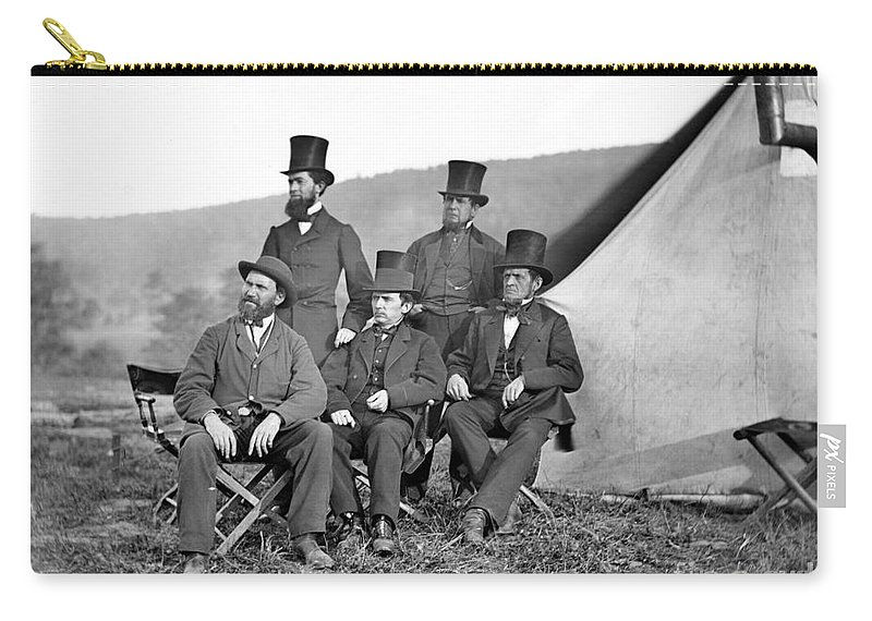 1862 Carry-all Pouch featuring the photograph Antietam: Officials, 1862 by Granger