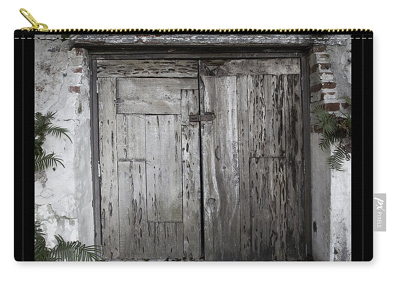 Doors Carry-all Pouch featuring the photograph Antique Weathered Wooden Doors by John Stephens