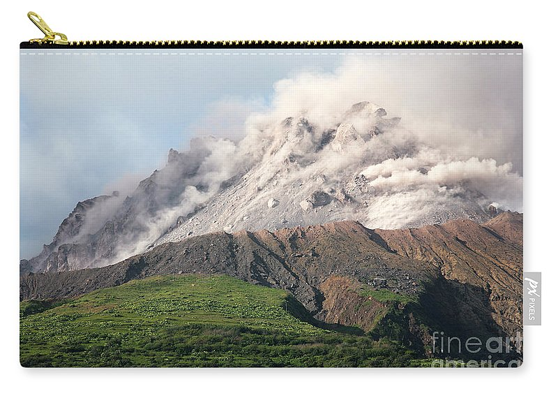 Active Volcano Carry-all Pouch featuring the photograph Ash And Gas Rising From Lava Dome by Richard Roscoe