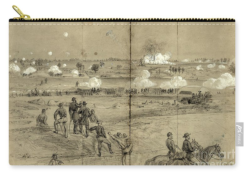 1864 Carry-all Pouch featuring the photograph Assault On Petersburg by Granger