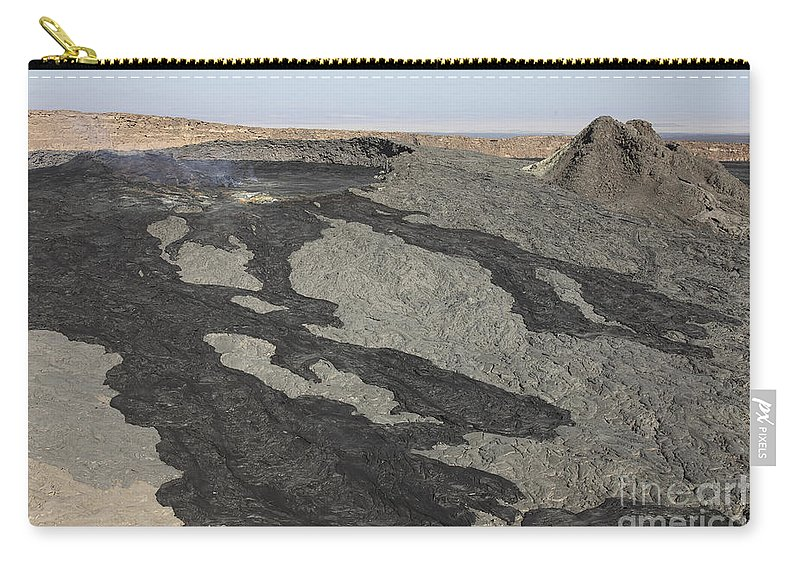 Igneous Rocks Carry-all Pouch featuring the photograph Basaltic Lava Flow From Pit Crater by Richard Roscoe