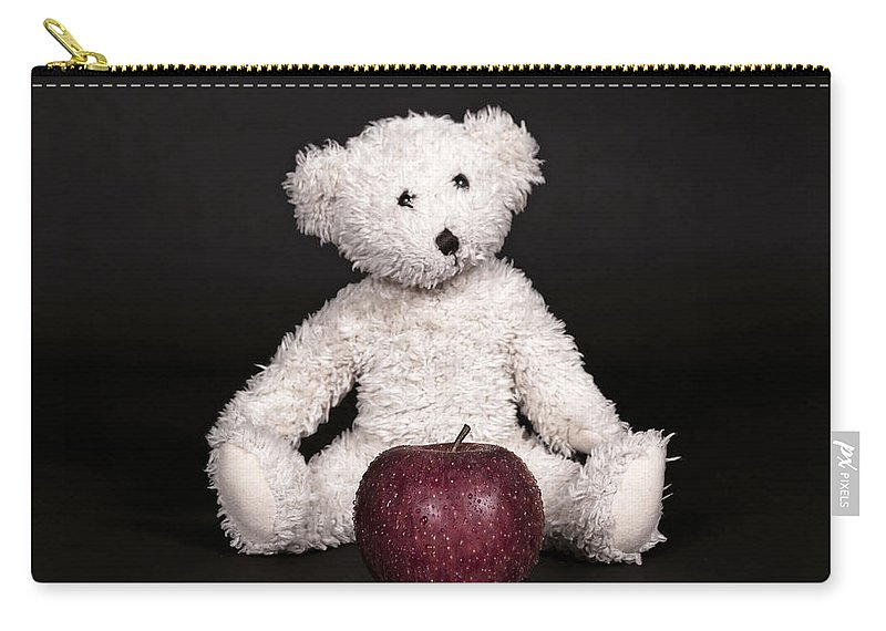 Teddy Carry-all Pouch featuring the photograph Bear And Apple by Joana Kruse