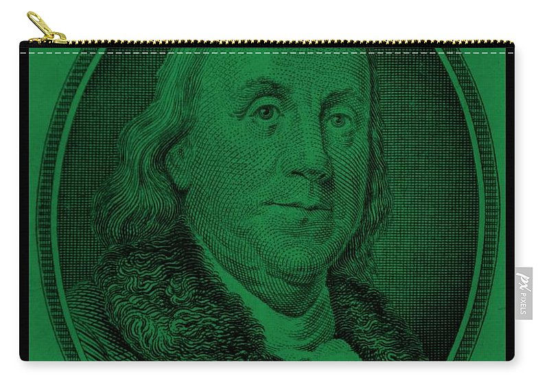 Ben Franklin Carry-all Pouch featuring the photograph Ben Franklin In Dark Green by Rob Hans