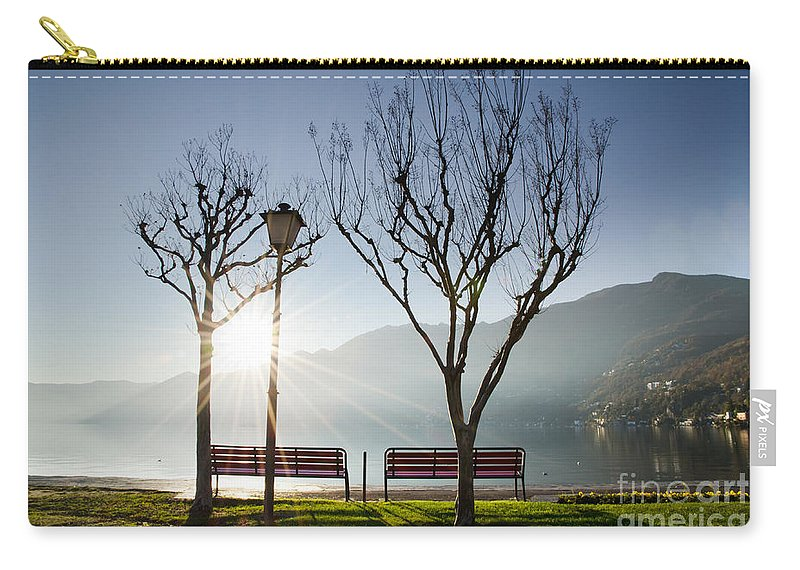 Bench Carry-all Pouch featuring the photograph Bench And Trees by Mats Silvan