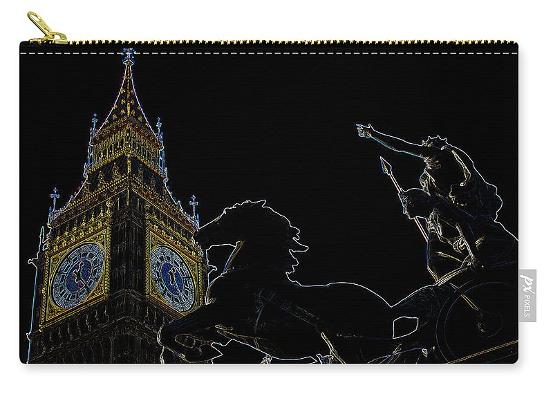 Digital Carry-all Pouch featuring the digital art Big Ben And Boudica by David Pyatt