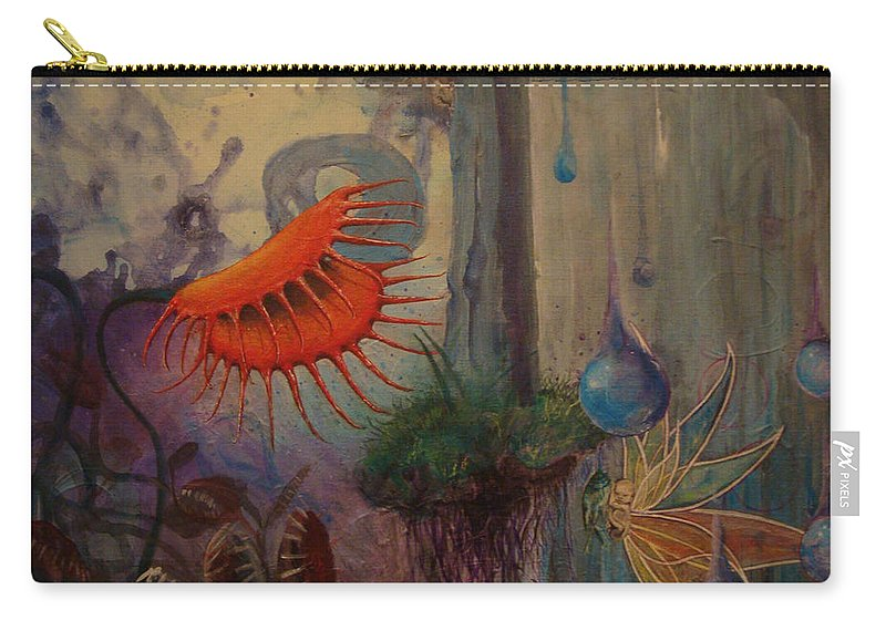 Flytraps Carry-all Pouch featuring the painting Birth by Mindy Huntress