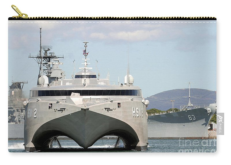 Bb-63 Carry-all Pouch featuring the photograph Bow On View Of The Us Navy Experimental by Stocktrek Images