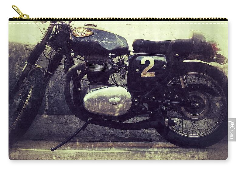 Jerry Cordeiro Photographs Framed Prints Framed Prints Photographs Carry-all Pouch featuring the photograph Bsa Motorbike by The Artist Project